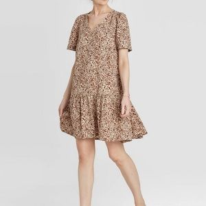 A New Day Leopard Print Ruffle Hem Dress